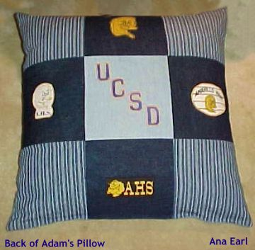 Ana Earl's Jeans Quilt pillow back