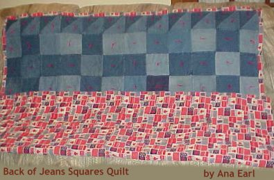 Ana Earl's Jeans Quilt  - back of quilt