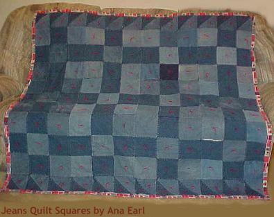 Ana Earl's Jeans Quilt - first denim quilt